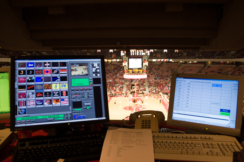 View from my station in the Control Booth at Bud Walton Arena during Razorback Basketball games.